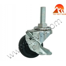 Black Threaded Swivel Caster With Lock