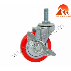 Red Threaded Swivel Caster With Lock